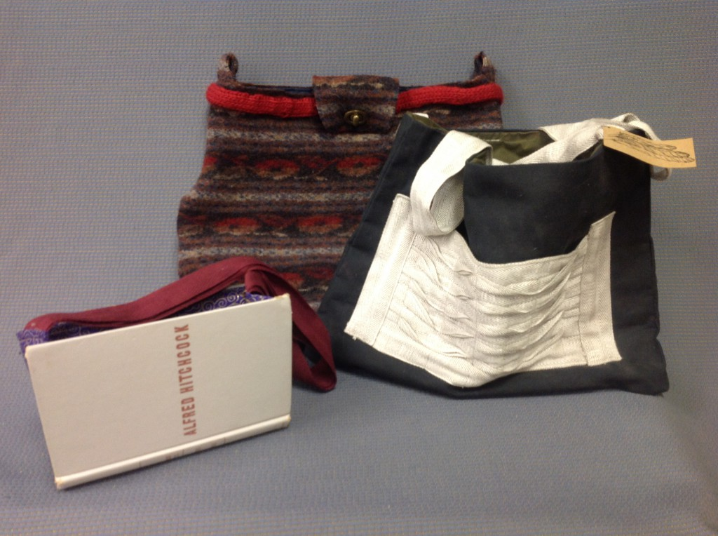 Make a bag from just about anything: an old sweater, design samples and blind tape or even an old book.